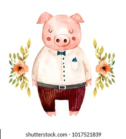 Watercolor illustration. Cute animals. Pig with flowers