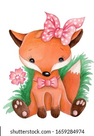 Watercolor illustration of cute cartoon fox girl sitting in grass. Isolated on white background.