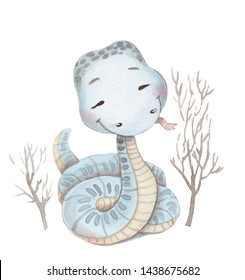 Watercolor illustration of cute cartoon light gray snake. Water colour art, hand painted, isolated on white.