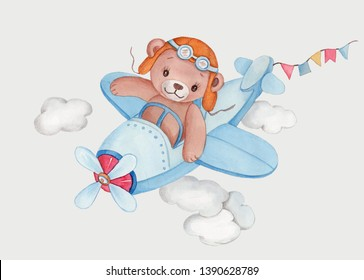 Watercolor illustration of cute cartoon teddy bear pilot flying by a plane. Hand drawn isolated on white.