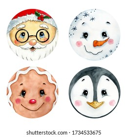 Watercolor illustration of cute Christmas emoticons set on a white background. Santa Claus, Ginger Man, Penguin, Snowman Faces.