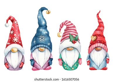Watercolor illustration of cute christmas gnomes
