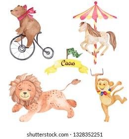 Watercolor illustration cute circus animals