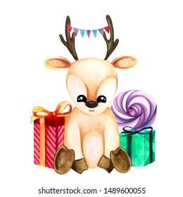 Watercolor illustration with cute fawn with garland and gifts. Print for greeting cards, invitations, children's textiles and posters.