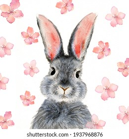 Watercolor illustration of a cute fluffy grey rabbit with pink ears in a white background with pink flowers