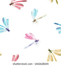 Watercolor illustration of a cute flying dragonfly. insect pattern