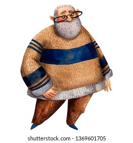 Watercolor illustration of cute grandfather. Hand drawn character of grandpa good for card to father or grandfather. Smily happy old man at cozy sweater.