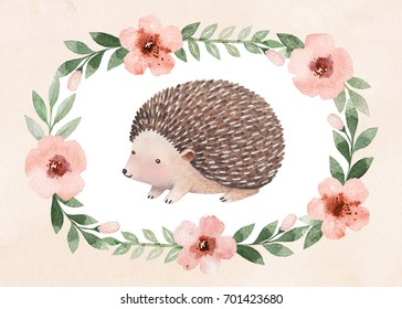Watercolor illustration of a cute hedgehog. Perfect for greeting cards