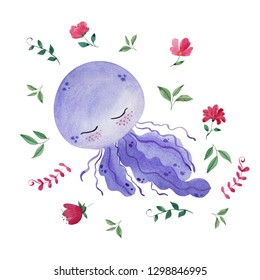 Watercolor illustration with cute jellyfish, flowera and leaves