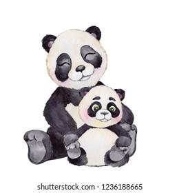 Watercolor illustration with cute panda