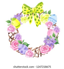 Watercolor illustration with cute pastel wreath, eggs, flowera and leaves on a white background