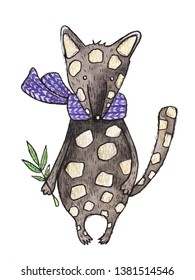 Watercolor illustration of a cute quoll