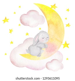 Watercolor illustration with cute rabbit, stars and cloud