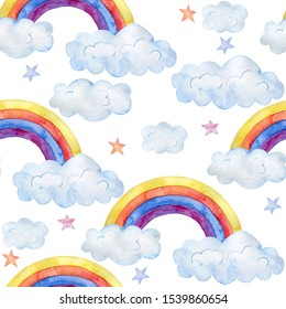 Watercolor illustration. Cute seamless pattern with clouds and rainbow.