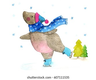 Watercolor Illustration of a cute teddy bear skating in the park. Cute baby illustration. Happy New Year and Merry Christmas!
