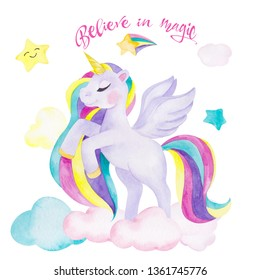 Watercolor illustration with cute unicorn, star and clouds