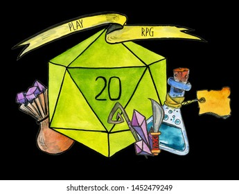 Watercolor illustration: D20 dice, icons for role playing games or board games:  crystals, bottle with magic potion, staff, knife, and a pouch with gem stones.