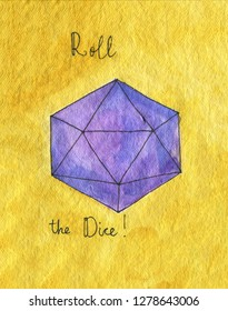 Watercolor illustration. D20 Dice for rpg, board or tabletop games. Yellow background.  Words: Roll the dices and RPG.