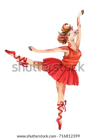 eb201648bdfa Watercolor illustration. Dancing ballerina in a red dress. Cow.