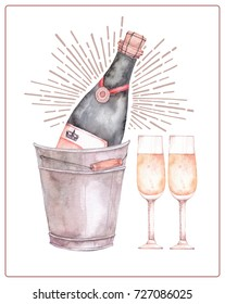 Watercolor illustration. Decorative holiday card with champagne and glasses. Perfect for invitations, greeting cards, blogs, posters and more. Merry christmas and happy new year