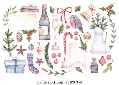 Watercolor illustration. Decorative xmas elements with floral branches, toys, champagne, labels. Perfect for invitations, greeting cards, prints. Merry christmas and happy new year