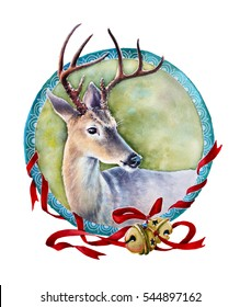 watercolor illustration with deer; composition with frame
