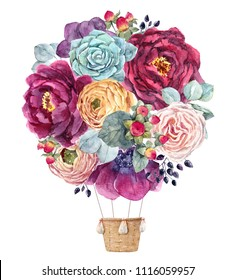 Watercolor illustration of a delicate floral bouquet.  flowers of dark anemone, red peony, white rose, succulent, black berries, berries hypericum. yellow flowers Ranunculus. floral balloon