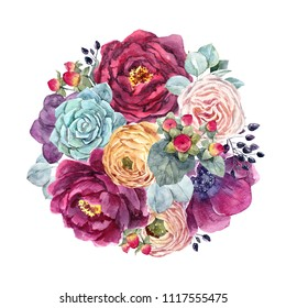 Watercolor illustration of a delicate floral bouquet.  flowers of dark anemone, red peony, white rose, succulent, black berries, berries hypericum. yellow flowers Ranunculus
