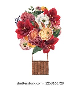 Watercolor illustration of a delicate floral bouquet.  red amaryllis flowers, yellow ranunculus, leaves, chrysanthemum. Autumn print  balloon
