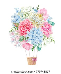 Watercolor illustration of a delicate floral bouquet, pink rose, blue hydrangea, white chrysanthemums, flowers and leaves. floral spring round composition, illustration balloon aerostat