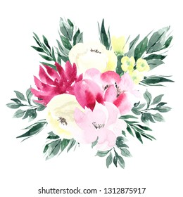 Watercolor illustration delicate flowers and leaves