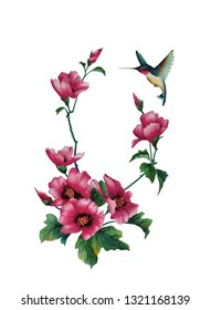 Watercolor illustration with delicate mallow flower,  pink rose and a beautiful hummingbird in flowers. The illustration is handmade in chinese style.