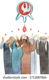 Watercolor illustration Descent of the Holy Spirit on the Apostles, Holy Trinity Day, Pentecost, whitsunday. Praying men and women, the Holy Spirit in the form of a dove.
