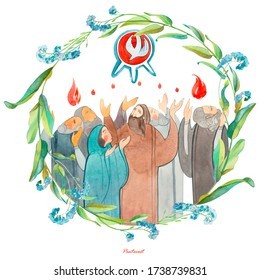 Watercolor illustration Descent of the Holy Spirit on the Apostles, Holy Trinity Day, Pentecost, whitsunday. Praying men and women, the Holy Spirit in the form of a dove.Christian postcard. Religious