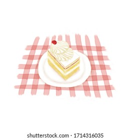 Watercolor Illustration of Dessert - Fresh MilK Small Cube Cake | 鲜奶小方