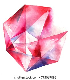 Watercolor illustration of diamond crystal. Big red ruby.