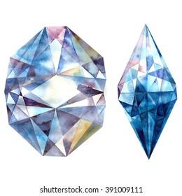 Watercolor illustration of diamond crystals. Blue ametist.