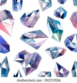 Watercolor illustration of diamond crystals - seamless pattern