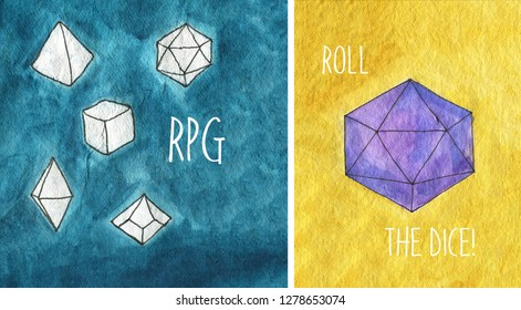 Watercolor illustration. Dices for rpg, board or tabletop games. Yellow and cyan backgrounds. D20 dice. Words: Roll the dices and RPG.