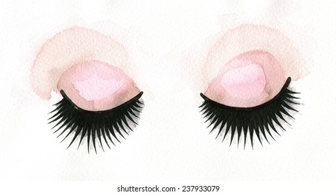 Watercolor illustration of dolly lashes.