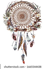 Watercolor Illustration of Dream Catcher decorated with Cotton, Pheasant Feathers Isolated on White. Boho Decoration Isolated on White. Trendy Interior Decor. Rustic Native American Amulet Art.