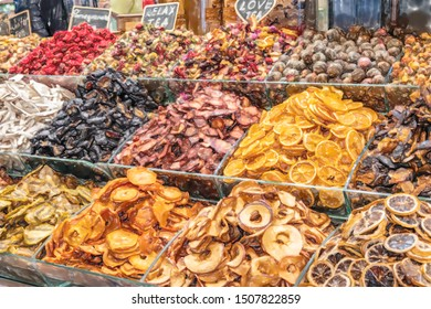 watercolor illustration: Dried fruits at the bazaar