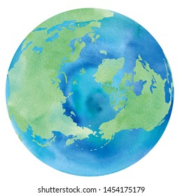 Watercolor illustration of the earth with Russia, Canada, Greenland, Iceland seen from the North Pole