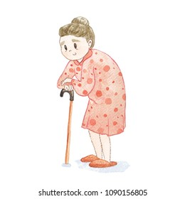 Watercolor illustration of elderly lady with cane