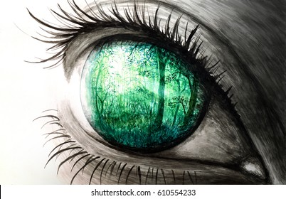 Watercolor illustration of eye reflecting nature. Soul of our mind.