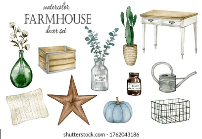 Watercolor illustration with farm house decor. Hand drawn clipart isolated on white background.