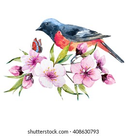 watercolor illustration floral arrangement cherry blossoms, butterfly, bird, isolated object