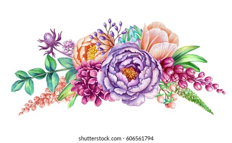 watercolor illustration, floral background, wild flowers, beautiful wedding bouquet, border design element isolated on white