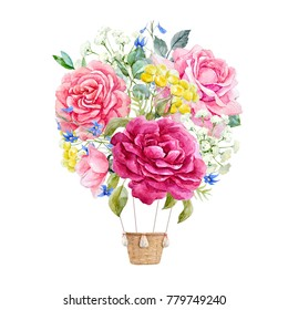 Watercolor illustration floral delicate bouquet , pink rose, flowers and leaves. floral spring round composition.  illustration balloo. aerostat. Women's Day