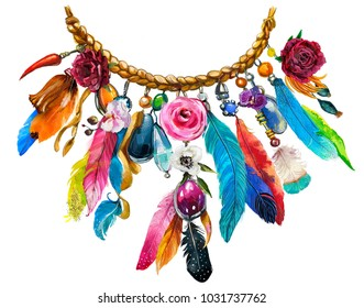 watercolor illustration with floral necklace with feathers